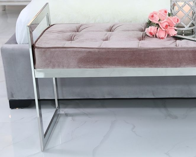 Zionsville Bench - Fabric and Chrome