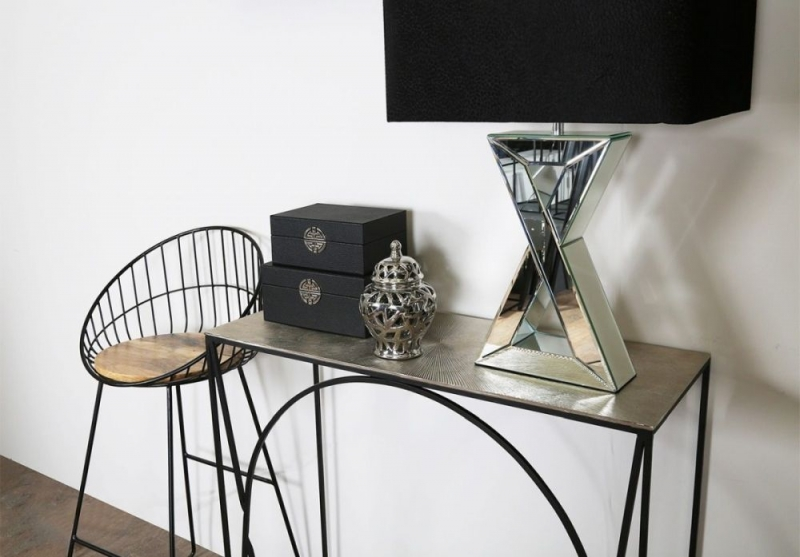 Eldon Console Table - Black Metal and Nickel