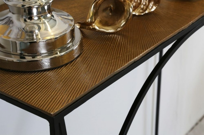 Eldon Console Table - Black Metal and Gold