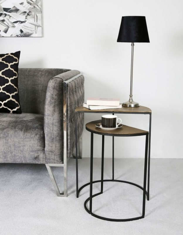 Hatley Half Moon Nest of Tables - Black Metal and Gold