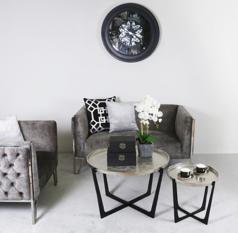 Rexford Nest of Tables - Black Metal and Nickel