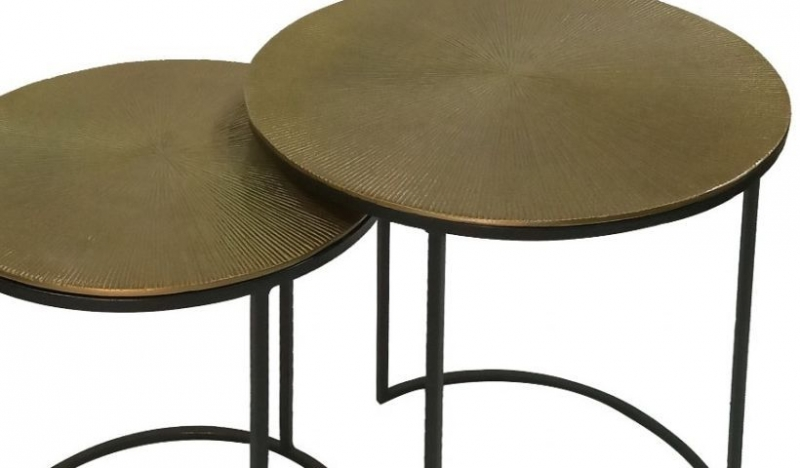 Soham Nest of Tables - Black Metal and Gold