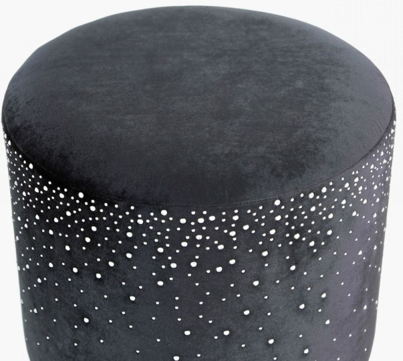 Vilonia Black Velvet Round Stool with Sparkle Pattern