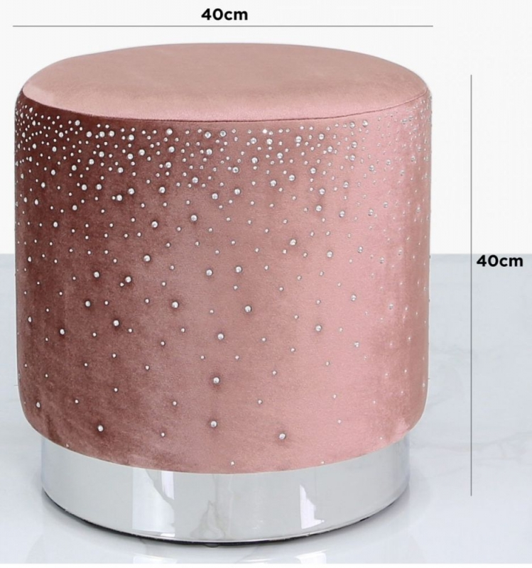 Vilonia Pink Velvet Round Stool with Sparkle Pattern