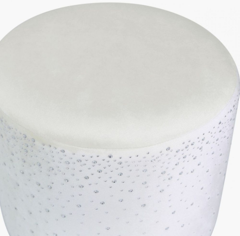 Vilonia Ivory Velvet Round Stool with Sparkle Pattern