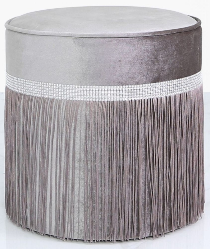 Vilonia Grey Velvet Round Stool with Diamante Band