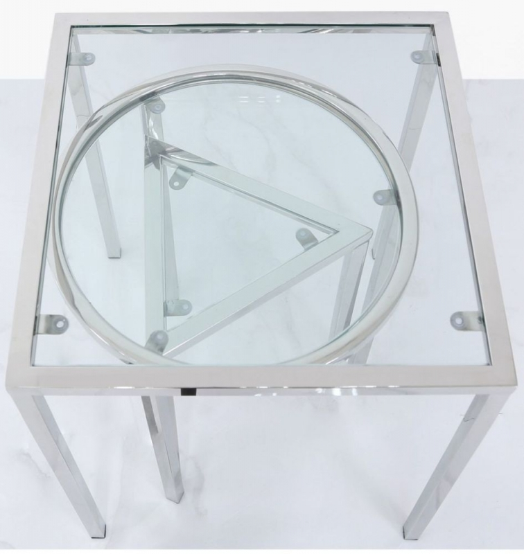 Troup Set of 3 End Tables - Glass and Chrome