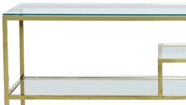 Hermon Tier Console Table - Glass and Gold