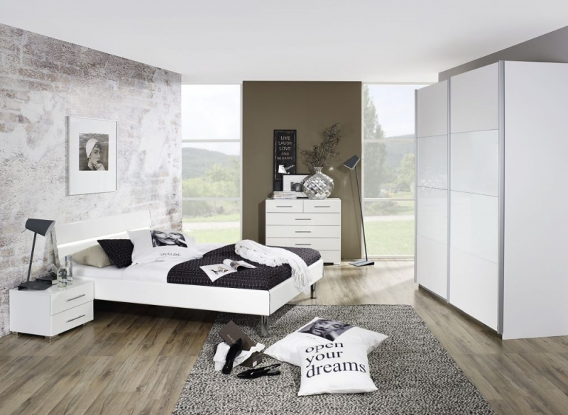 Rauch Quadra Sliding Wardrobe with Decor and Part Glass Front