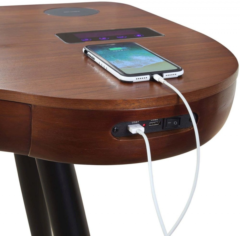 Jual San Francisco Walnut Charging Desk with Bluetooth Speaker - PC711