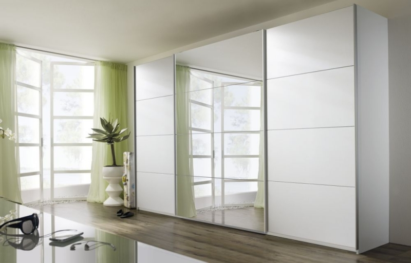 Rauch Quadra Sliding Wardrobe with Decor and Mirror Front