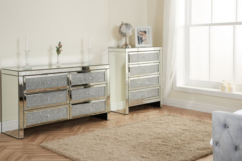Birlea Vienna Mirrored 6 Drawer Wide Chest