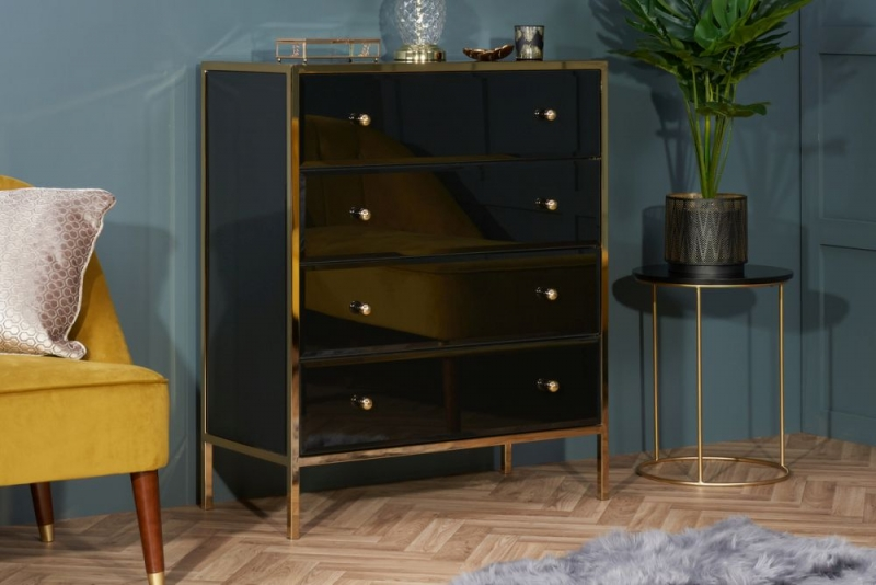 Birlea Fenwick 4 Drawer Small Chest - Black and Gold