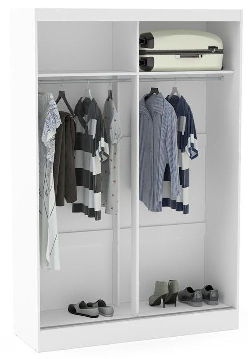Birlea Lynx 2 Door Sliding Mirror Wardrobe - White and Grey