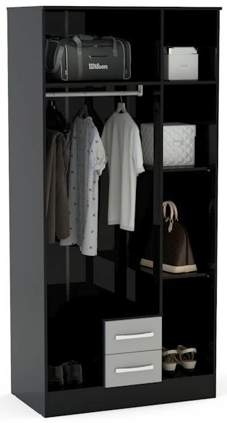 Birlea Lynx Black 3 Door Combi Wardrobe