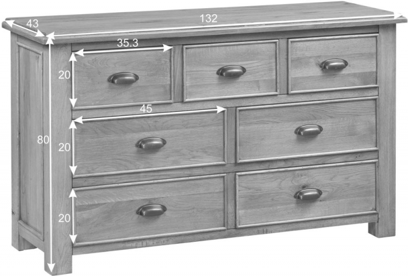 Rustica Oak 3+4 Drawer Chest