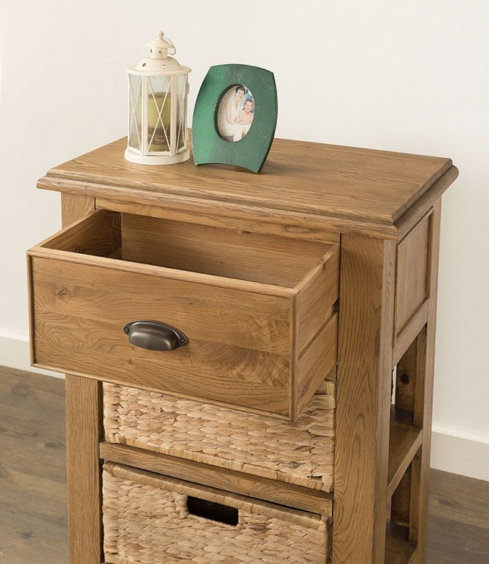 Rustica Oak Console Table with 2 Baskets