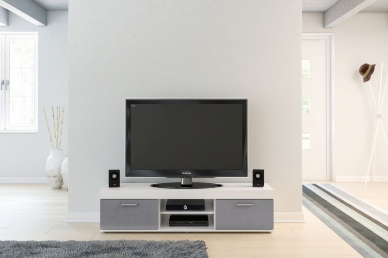 Birlea Edgeware Medium TV Unit - White and Grey