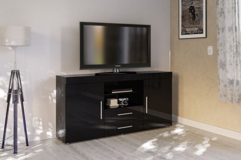 Birlea Edgeware Black Large TV Unit