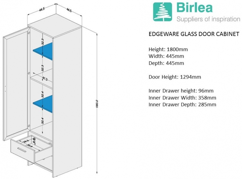 Birlea Edgeware Display Cabinet - White and Grey