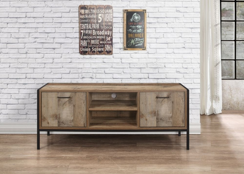 Birlea Urban Rustic TV Unit with Metal Frame