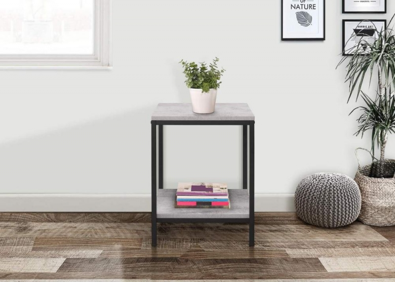 Birlea Midtown Grey Lamp Table with Metal Frame