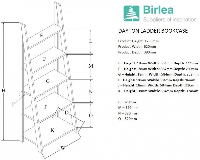 Birlea Dayton Walnut Ladder Bookcase