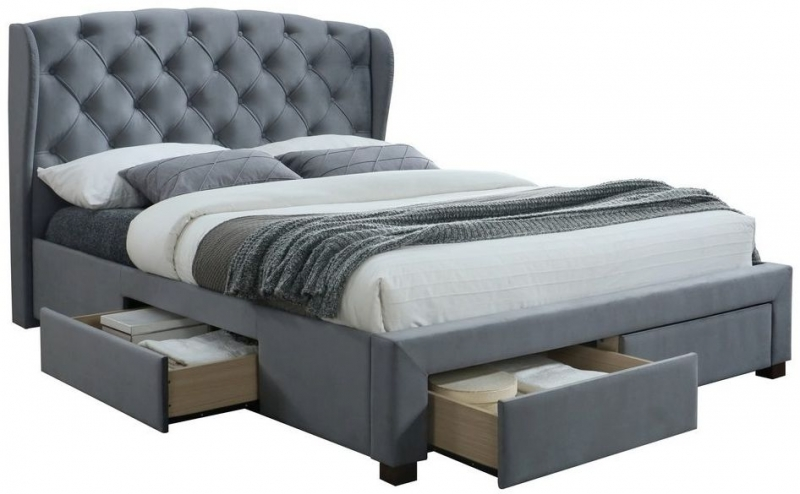 Birlea Hope Grey Velvet Bed