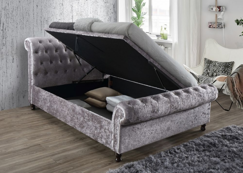 Birlea Castello Steel Crushed Velvet Side Ottoman Bed