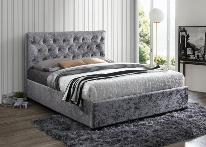 Birlea Cologne Steel Crushed Velvet Bed