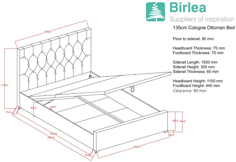 Birlea Cologne Grey Fabric Ottoman Bed