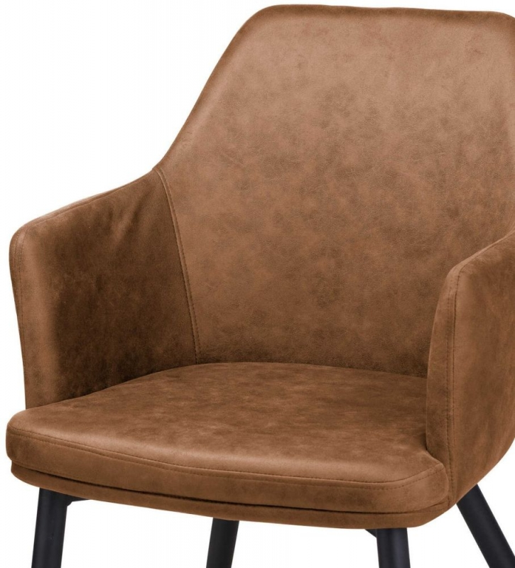 Hill Interiors Oslo Carver Tan Brown Faux Leather Dining Chair (Pair)