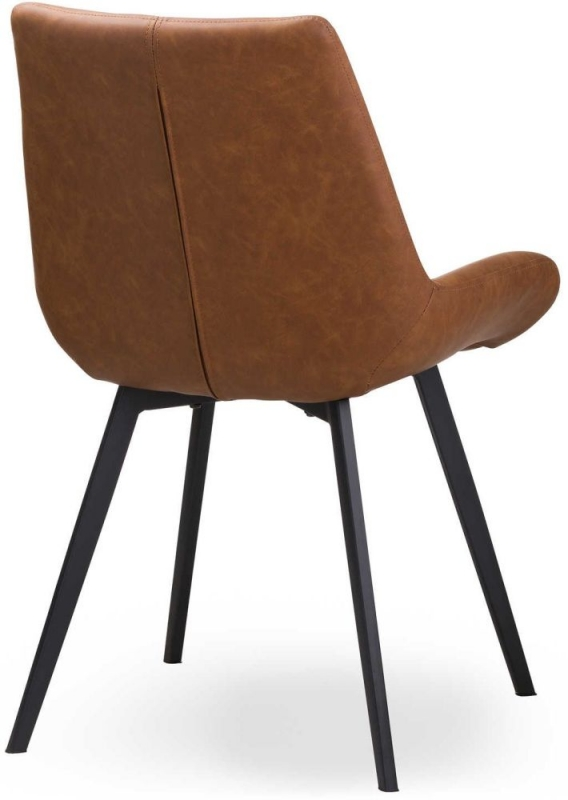 Hill Interiors Malmo Tan Brown Faux Leather Dining Chair (Pair)