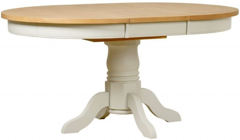 Mark Webster Hemmingway Round Extending Dining Table - Oak and Off White