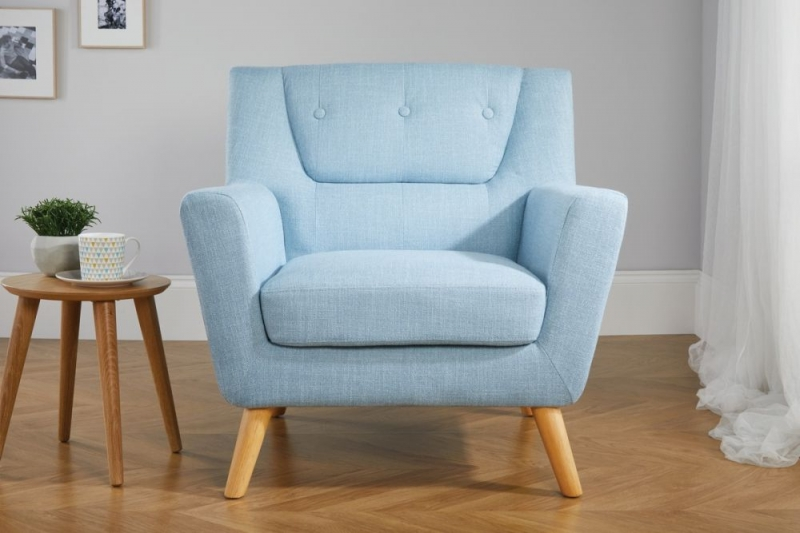 Birlea Lambeth Duck Egg Blue Fabric Armchair