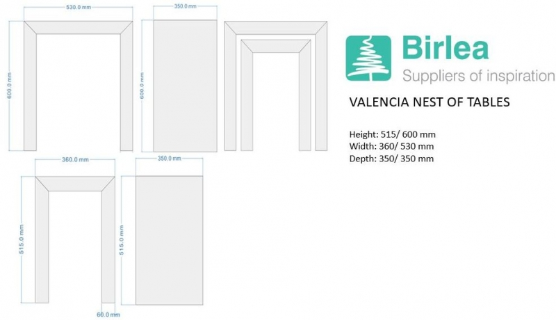 Birlea Valencia Mirrored Trio Nest of Tables