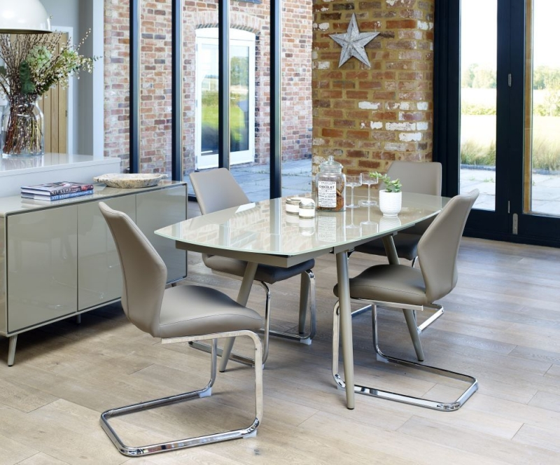 Mark Webster Motion Cappuccino Curved Extending Dining Table and 4 Faux Leather Dining Chair