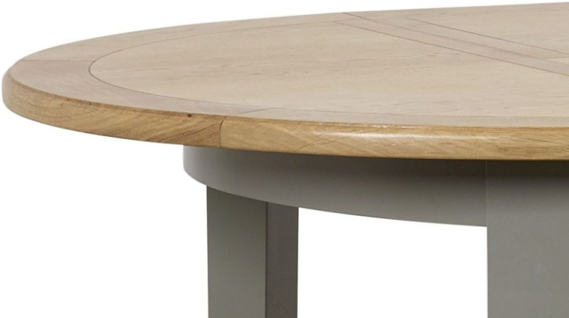 Mark Webster Waterford Round Extending Dining Table and 4 Chairs - Oak and Grey