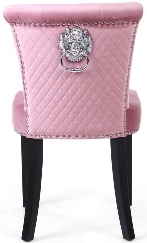 Shankar Sandringham Lionhead Pink Blush Brushed Velvet Accent Dining Chair (Pair)