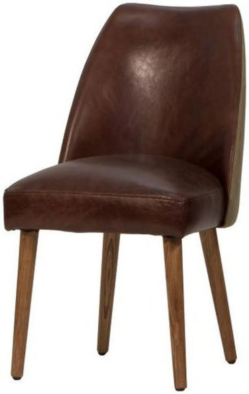 Carlton Additions Tribe Brown Leather Dining Chair (Pair)