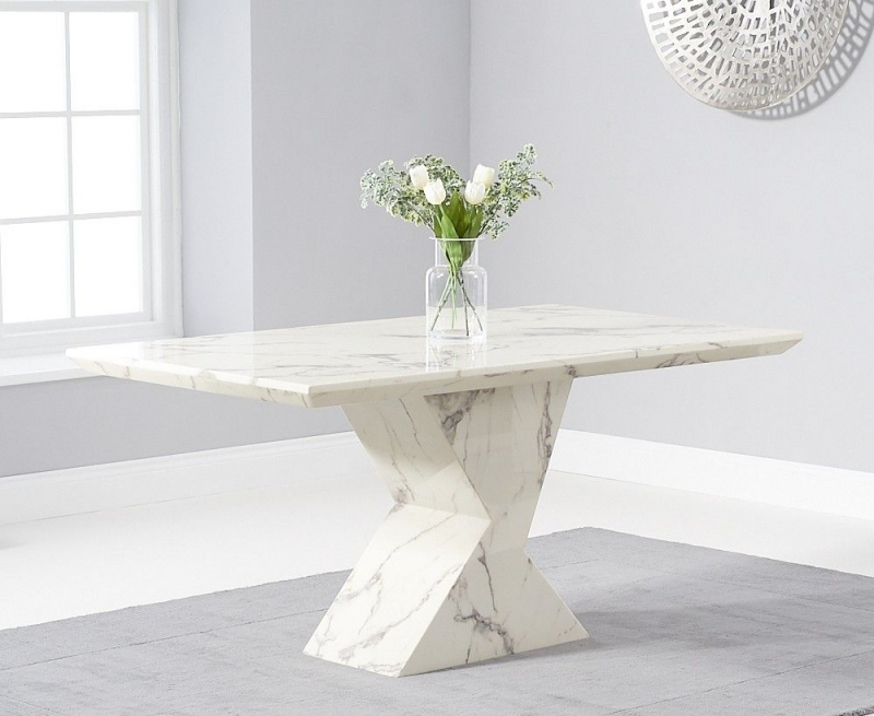 Mark Harris Allen White Engineered Marble 160cm Dining Table