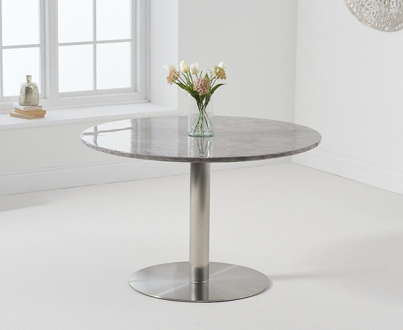 Mark Harris Battista Round Grey Marble Effect Top 120cm Dining Table