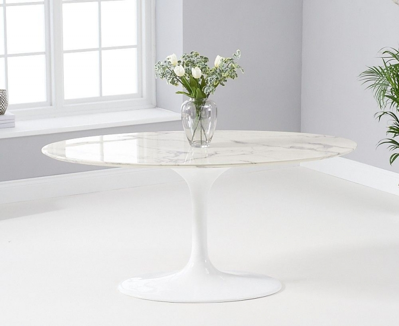 Mark Harris Brittney Oval White Marble Top 160cm Dining Table