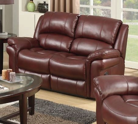 Farnham Burgundy Leather 2 Seater Recliner Sofa