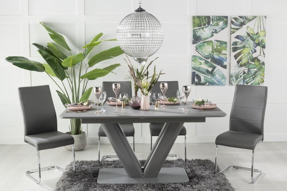 Urban Deco Panama Dark Grey Glass 160cm-200cm Extending Dining Table