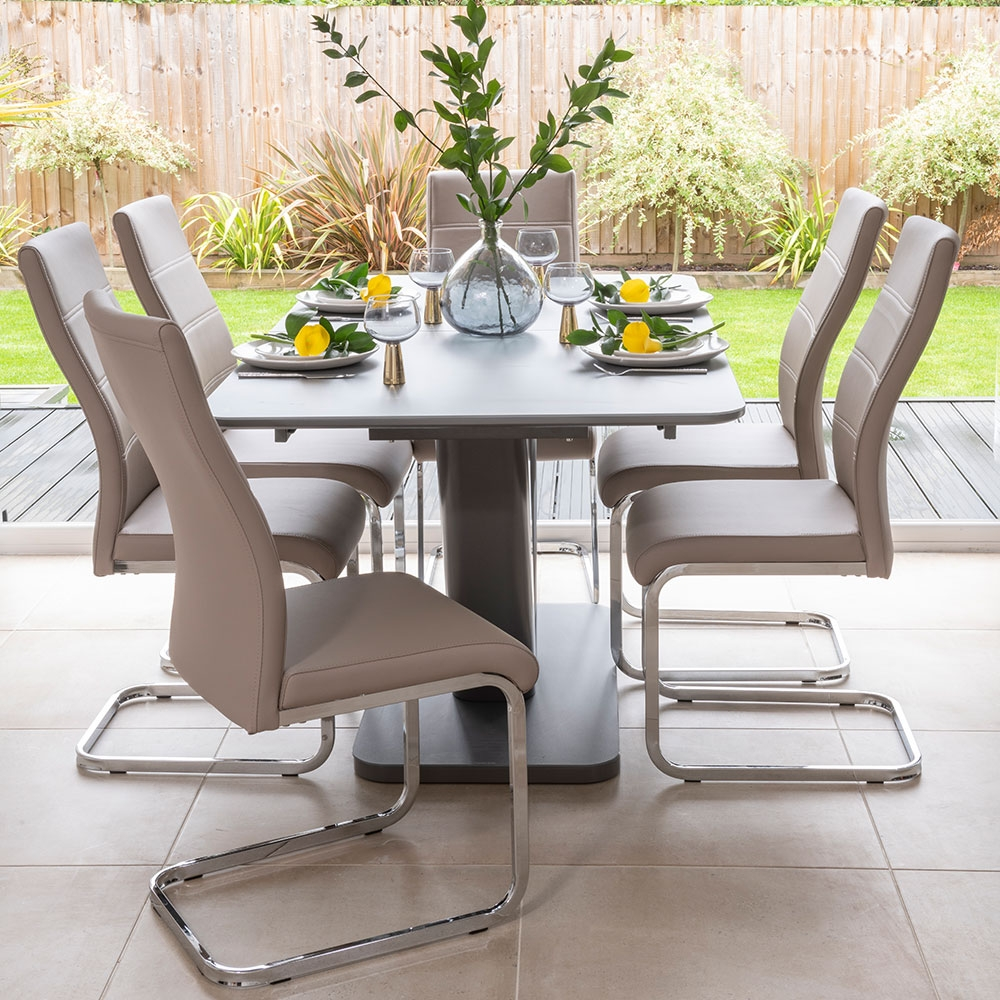 Urban Deco Panama Dark Grey Glass 160cm Extending Dining Table