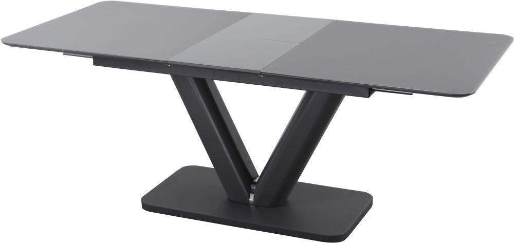 Urban Deco Panama Dark Grey Glass Extending Dining Table