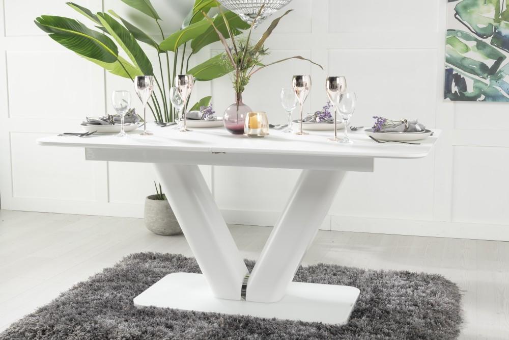 Urban Deco Panama White Glass 160cm-200cm Extending Dining Table