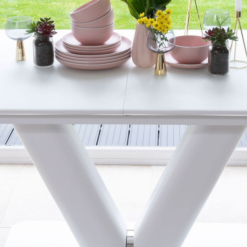 Urban Deco Panama White Glass 160cm-200cm Extending Dining Table