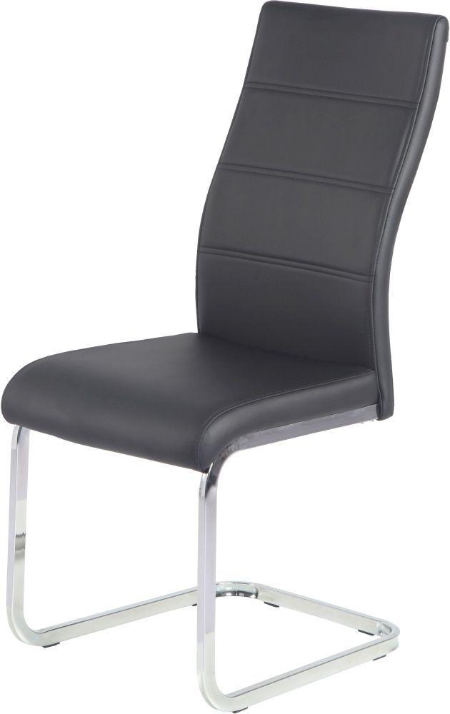 Urban Deco Malibu Black Faux Leather Swing Dining Chair (Pair)